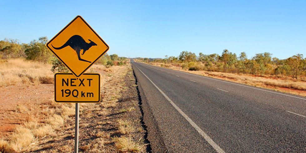 Schild mit Känguru Straße Australien