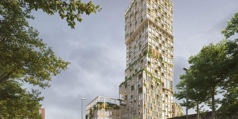 Ein 98 Meter hoher Holzbau ist das Zentrum des Gebäudeensembles WoHo in Berlin-Kreuzberg. Foto: Mad arkitekter