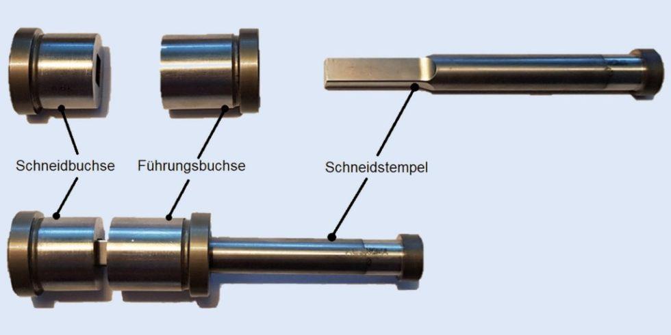 Werkzeugaktivelemente, die in den Stanzversuchen zur Auswertung nach der DOE-Methode (statistische Versuchsplanung) eingesetzt wurden. Foto: HTW