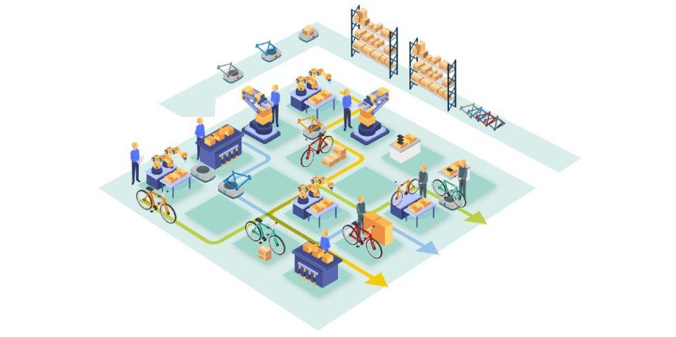 Mithilfe wandlungsfähiger Fertigungs- und Montagezellen kann sich die Matrixproduktion rasch an veränderte Anforderungen anpassen sowie auf Störungen reagieren. Bild: Fraunhofer IML