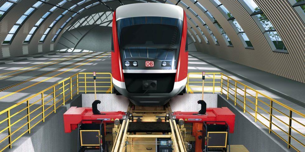 Schienenfahrzeug auf einer Unterflurradsatzdrehmaschine: Die entwickelte Walzeinheit kann das gesamte Radprofil bzw. Teilbereiche fest- und glattwalzen. Foto: IFS