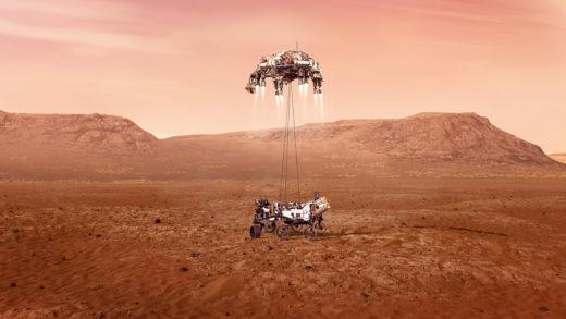 Die Grafik zeigt, wie der Rover Perseverance von der Abstiegseinheit sanft auf die Marsoberfläche hinabgelassen wird. Foto: Nasa