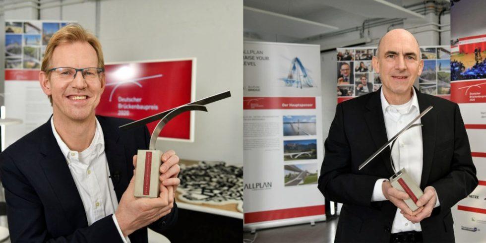 Der Deutsche Brückenbaupreis ging an Michael Borowski vom Ingenieurbüro Grassl (links) und Prof. Dr. Mike Schlaich von schlaich bergermann partner sbp (rechts). Foto: Torsten George