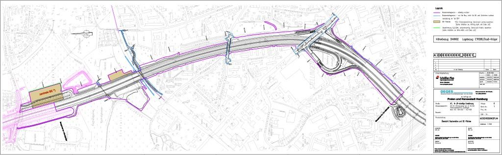 Im Stadtgebiet Stellingen entsteht beim Ausbau der A 7 in Hamburg ein neuer Lärmschutztunnel.
