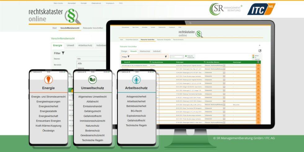 Das Ergebnis der Dresdener Firmenkooperation ist ein maßgeschneidertes Online-Tool zur Überwachung der rechtlichen Anforderungen in den Bereichen Energie, Umwelt und Arbeitsschutz. Grafik: ITC / SR Managementberatung