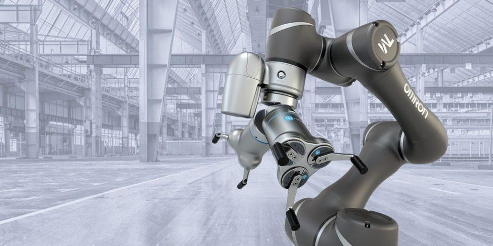 Kooperation: Die One-System-Lösung des Greiftechnikspezialisten OnRobot stellt eine einheitliche Schnittstelle für die mühelose Plug-and-Play-Integration an der Robotern von Omron bereit. Foto: Omron