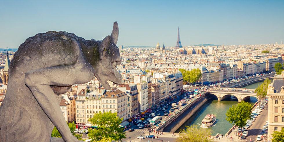 Figur Notre Dame Blick auf Paris