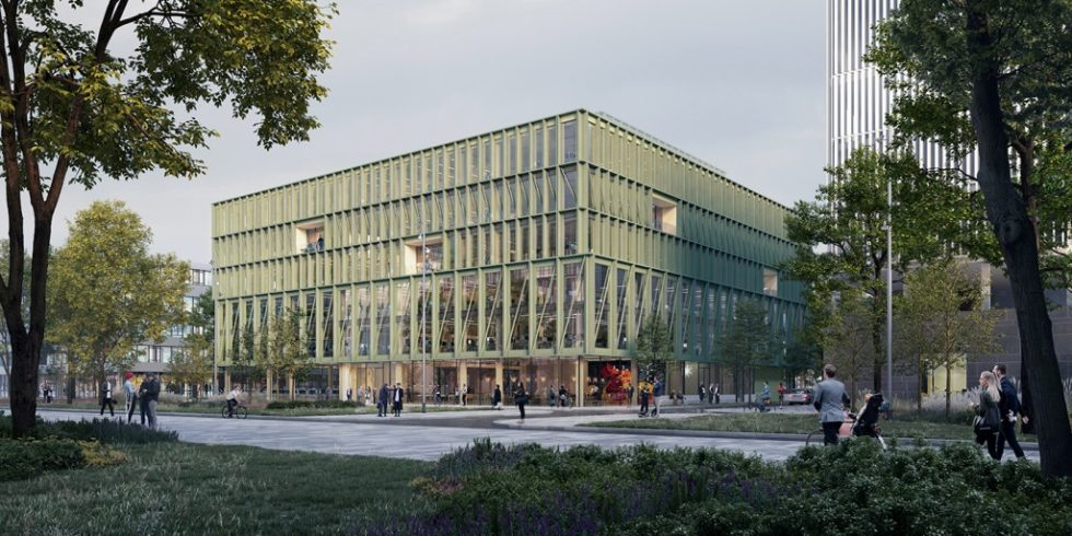 """Das """"i8"""" in München wird durch die grüne Aluminium-Fassade und das Holztragwerk geprägt. Foto: CFMoller"""