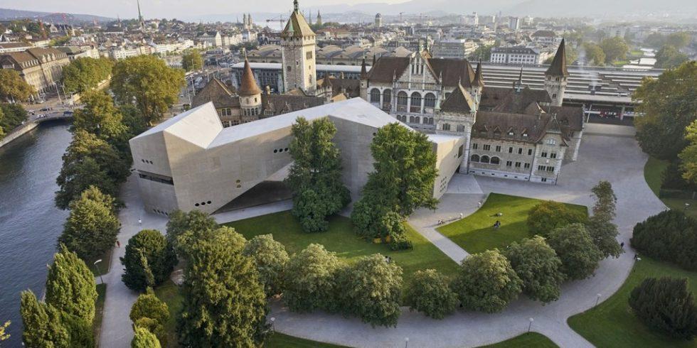 Direkt am Landesmuseum Zürich enstand der moderne Erweiterungsbau. Foto: Schweizerisches Nationalmuseum