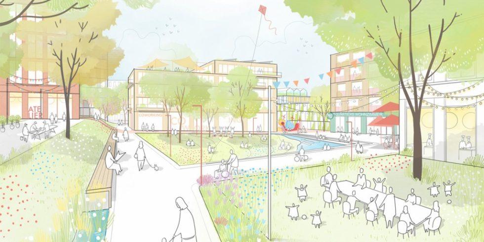 Der städtebauliche Entwurf »Am Rotweg« plant eine Gemeinschaftswiese im Herzen des Quartiers. Foto: ISSS research | architecture | urbanism