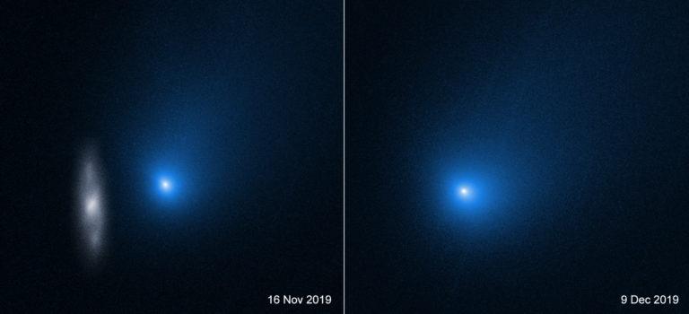 Aufnahmen des Hubble-Teleskops zeigen den Kometen Borisov. Links ist eine entfernte Hintergrundgalaxie in der Nähe der Sichtlinie zu Borisov zu erkennen. Der Komet war etwa 327 Millionen Kilometer von der Erde entfernt. Rechts ist der Komet kurz nach dem Perihel zu sehen, also dem Zeitpunkt, wenn die Erde der Sonne am nächsten ist. Foto: Nasa, Esa, D. Jewitt (UCLA) et al.
