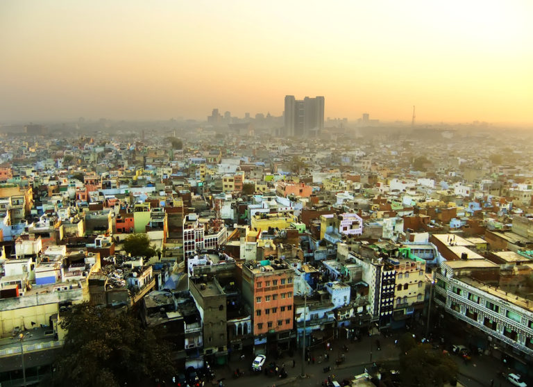Blick auf Delhi von Jama Masjid in Indien