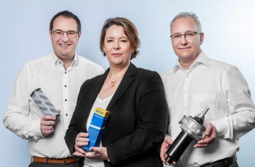 v. l. n. r: Das Managementteam aus Ketsch: Malte Röcke – Geschäftsführer Hengst Filtration GmbH / Inga Heydenreich-Barth – Leiterin Operations / Cornelius Böcher – Leiter Sales