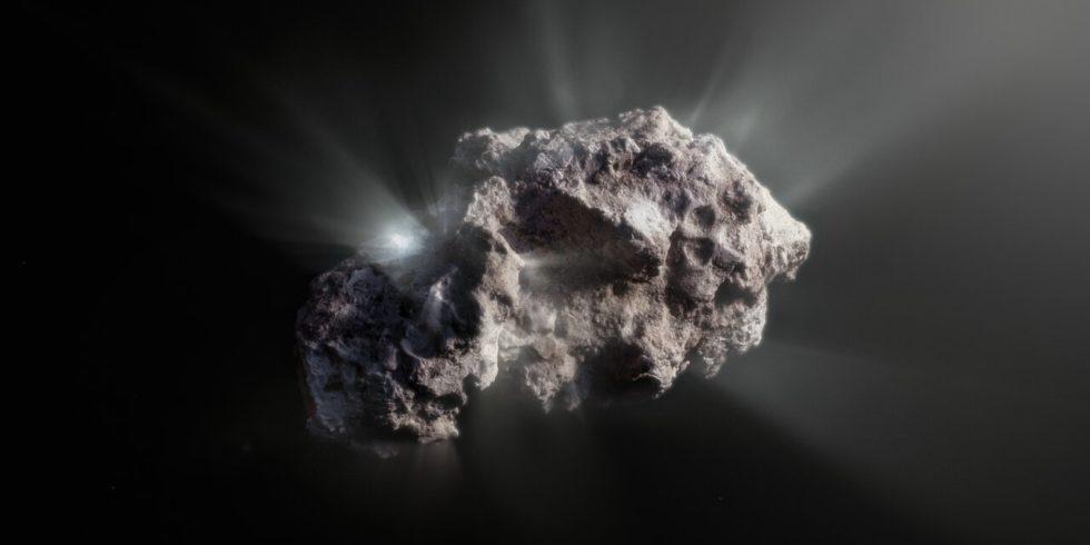 Ein Komet verliert Gase und Wasser, wenn er einem Stern näher kommt. So auch der interstellare Besucher Borisov: Dessen Koma lieferte Forschenden jetzt erstaunliche Hinweise. Foto: Eso
