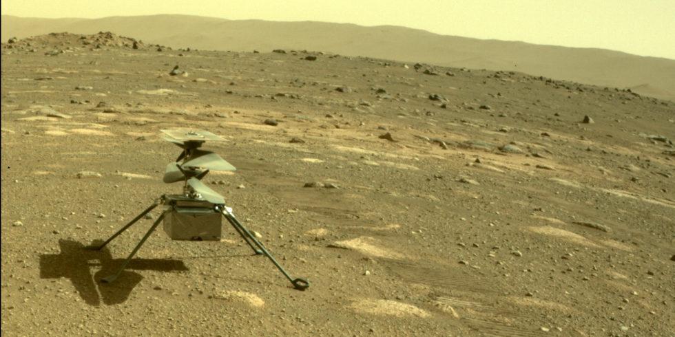 Helikopter Ingenuity auf dem Mars: Am Sonntag, 11. April, soll das Fluggerät drei Meter in die Höhe steigen. Foto: Nasa