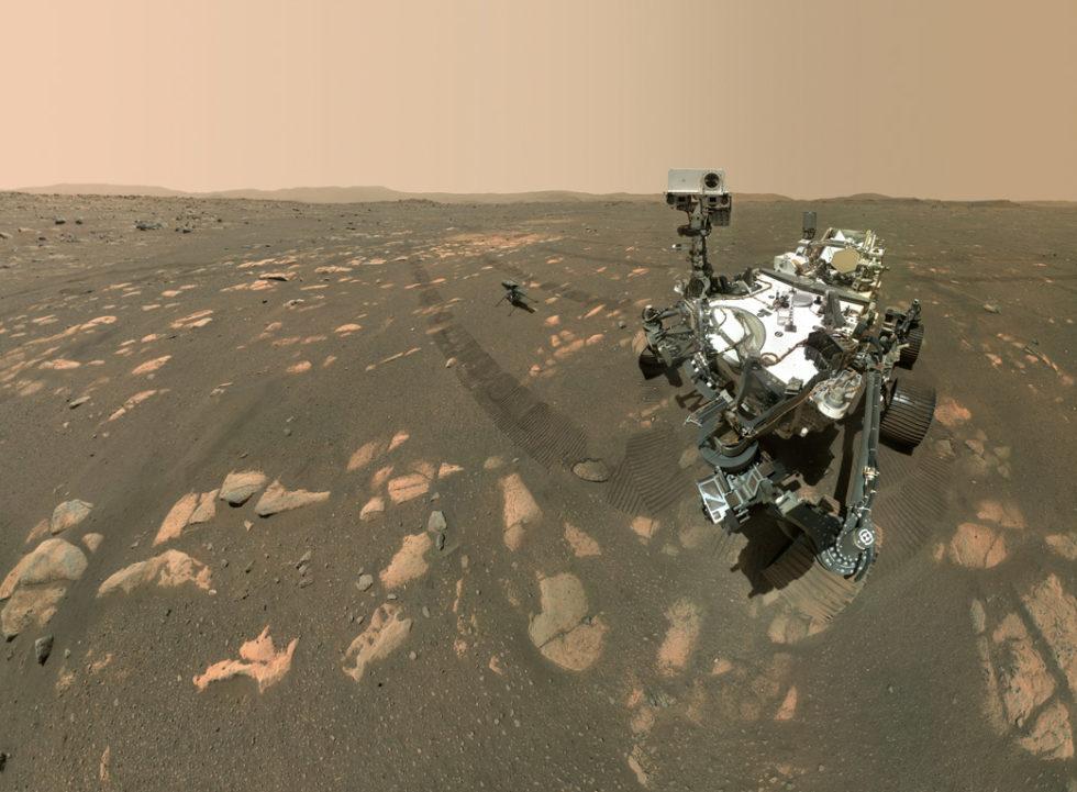 Selfie vom Mars: Perseverance schickt ein Foto von sich und Ingenuity zur Erde. Foto: NASA/JPL-Caltech/MSSS