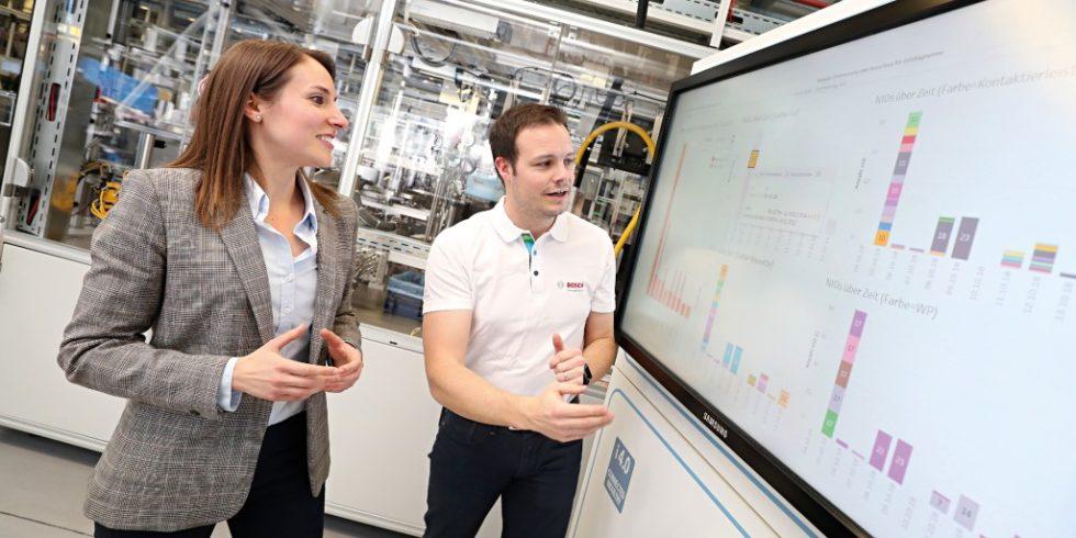 """KI-Team am Bosch-Werk in Stuttgart-Feuerbach: Zur Unterstützung der fortschrittlichen Entwicklungen wurden bereits 2017 die """"Bosch Center for Artificial Intelligence"""" (BCAI)  ins Leben gerufen. Foto: Robert Bosch GmbH"""