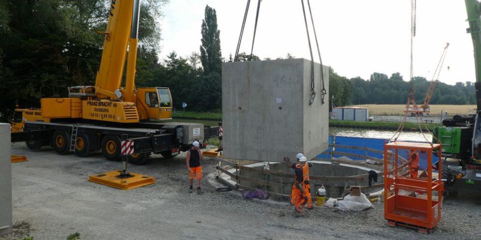 Der Grael-Dükers am Dortmund-Ems-Kanal wird neu errichtet. Foto: Wasserstraßen- und Schifffahrtsamt Rheine