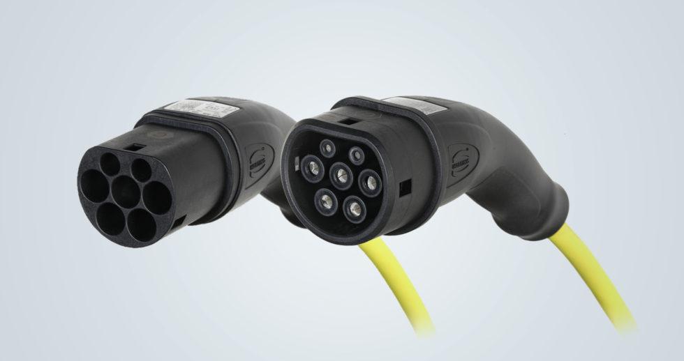 Das HARTING Ladekabel Mode 3 für den Modularen E-Antriebs-Baukasten (MEB) von Volkswagen. Foto: HARTING