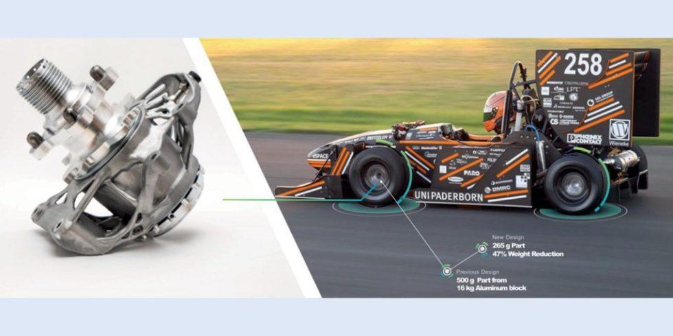 """Aluminium-Radträger, virtuell optimiert und entwickelt, im Einbauzustand im """"Formula One Student Car"""" der Universität Paderborn. Foto: HexagonMI/Universität Paderborn"""