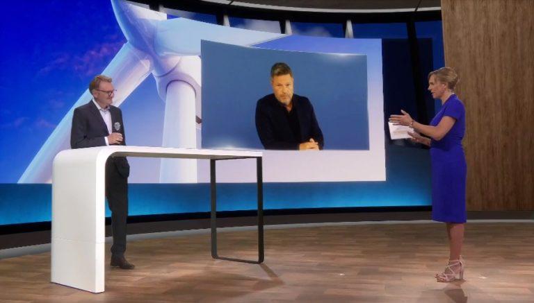VDI-Präsident Volker Kefer im Gespräch mit Grünen-Co -Chef Robert Habeck beim Deutschen Ingenieurtag 2021. Foto: VDI/Screenshot