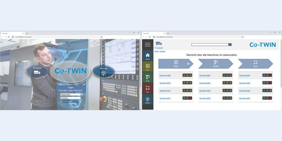 Bild 1. Prototypische User Interfaces der Co-TWIN-Plattform.   Foto: BAM GmbH; TU Chemnitz, PSP/WI, René Apitzsch