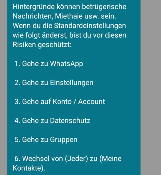 Nachrichten dieser Art kursieren derzeit bei Whatsapp und anderen Messengern. Foto: Screenshot