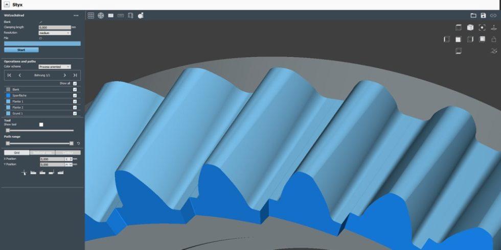 """Der Anblick eines Wälzschälrads in der Software """"Multigrind Styx"""" lässt kaum erahnen, wie komplex die Berechnung seiner Geometrie tatsächlich ist. Foto: Haas"""