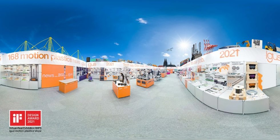 """Die """"igus Motion Plastics Show"""", Version 2021, ist eröffnet. Sie steht sie in einer Messehalle in Köln Porz-Lind und wurde bereits mit dem """"iF Design Award"""" ausgezeichnet. Foto: igus"""