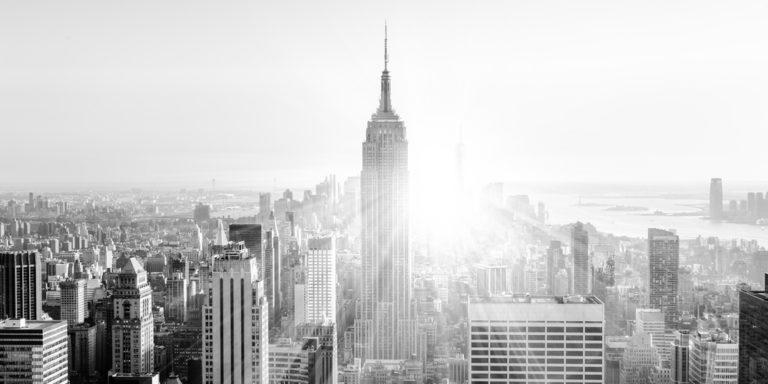 Schwarz-weiß Aufnahme Skyline Empire State Building