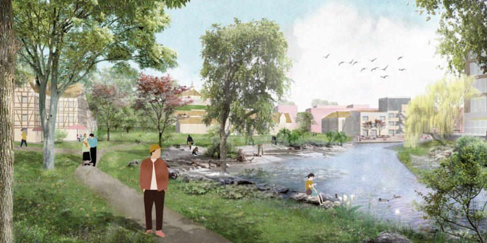 Der Siegerentwurf für das Quartier Backnang West soll die Murr erlebbar machen. Foto: Teleinternetcafe/Treibhaus