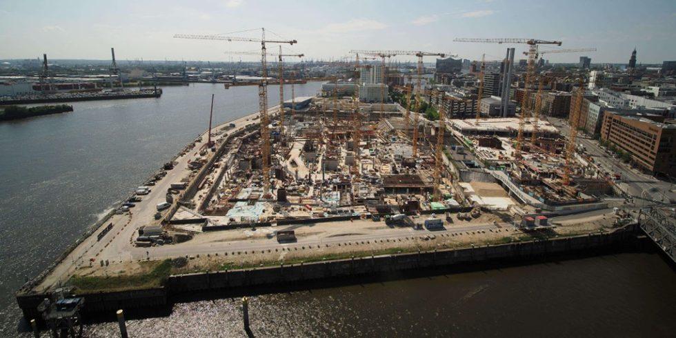 Die Baustelle des Westfield Überseequartiers Hamburg will eine nachhaltige Baustelle werden und richtet sich dafür nach den Kriterien der neuen  DGNB-Zertifizierung nachhaltige Baustelle. Foto: @mk_timelapse