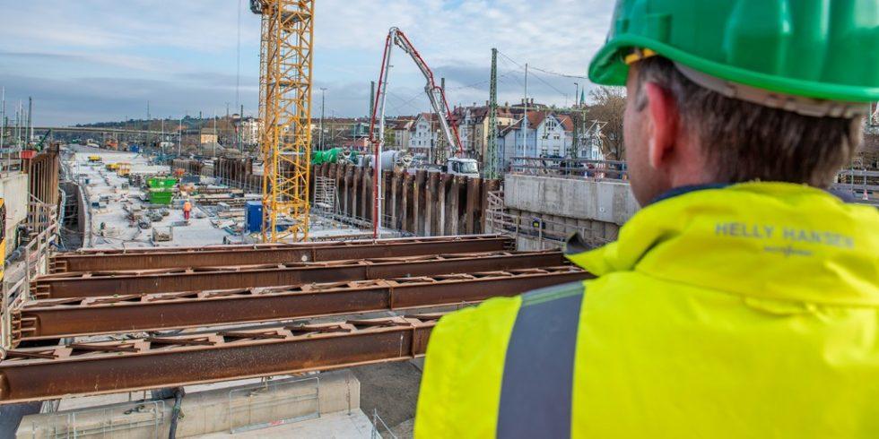 In Untertürkheim ensteht ein 480 Meter lange Bauabschnitt für das Großprojekt Stuttgart 21. Foto: HeidelbergCement AG / Steffen Fuchs
