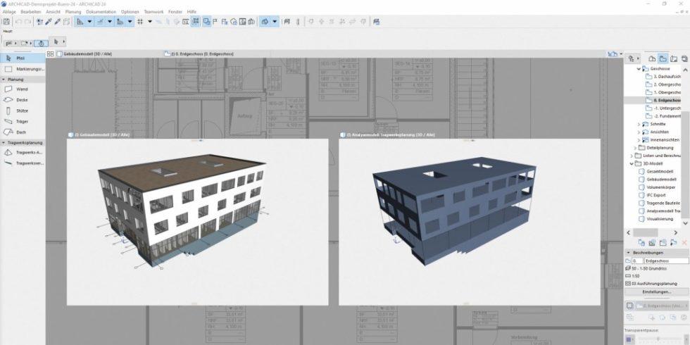 Der Tragwerksplaner leitet aus dem Gebäudemodell (links) das Tragwerksanalysemodell (rechts), ab, das er gemeinsam mit dem Architekten anpassen und optimieren kann. Foto: Graphisoft, München