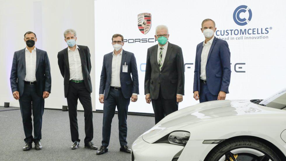 Michael Steiner, Boris Palmer, Torge Thönnessen, Winfried Kretschmann und Oliver Blume (v.l.n.r.)