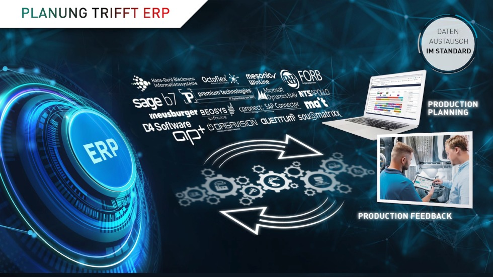 Gemeinsam mit namhaften ERP-Systemen sollen Officefloor- und Shopfloor-Anwendungen interaktiv und barrierefrei verbunden werden. Stammdaten, Fertigungsaufträge und Arbeitsgänge aus dem vorhandenen ERP-System können so automatisch in PRODUCTION PLANNING & CONTROL übernommen werden.<br />Foto: DMG Mori