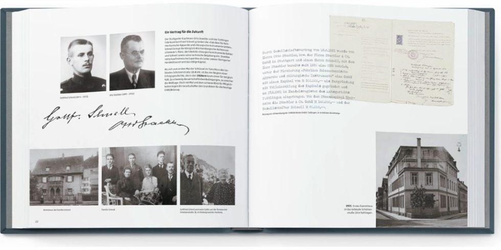 Eine aufwendig gestaltete Chronik bereitet auf über 200 Seiten, vom Gründungsjahr 1921 bis ins Jubiläumsjahr 2021, die spannende Geschichte der Firma Chiron in Wort und Bild auf. Foto: Chiron