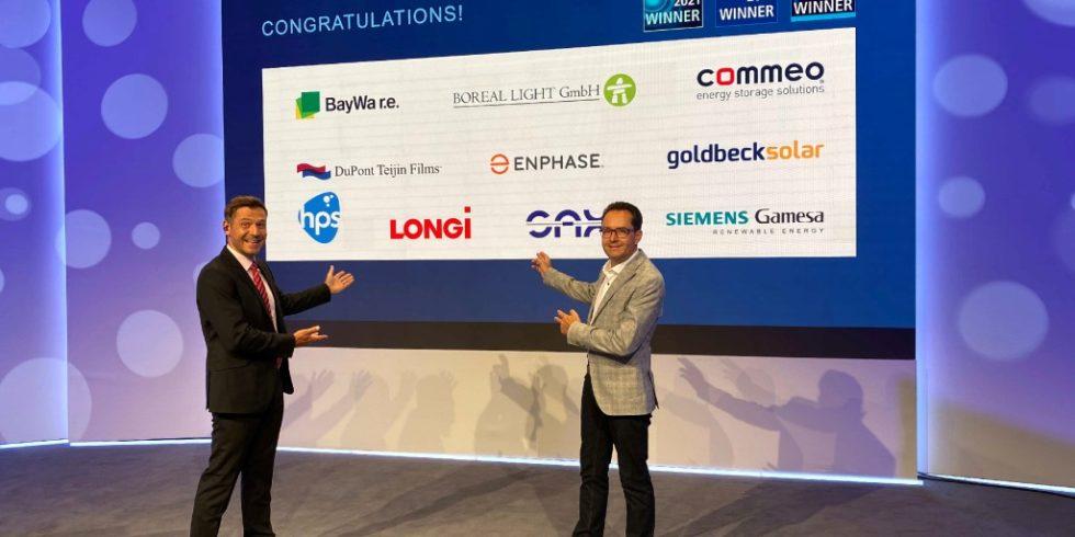 """Virtuelle Preisvergabe: Die Gewinner des Intersolar Awards wurden in diesem Jahr im Rahmen der """"The smarter E Industry Days"""" vorgestellt. Foto: Solar Promotion GmbH"""