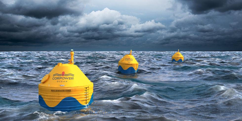 Der kompakte Wellenenergie-Wandler von Cor-Power Ocean schwingt mit den Wellen, verstärkt deren Bewegung mit Hilfe von Phasensteuerung und wandelt diese in Strom um. Foto: SKF