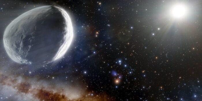 Abbildung Komet Bernardinelli-Bernstein, wie er im äußeren Sonnensystem aussehen könnte.