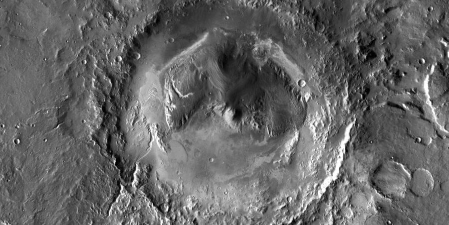 Der Gale-Krater auf dem Mars: Forschende machten eine überraschende Entdeckung in den Sedimentschichten. Foto: NASA, JPL-Caltech, ASU