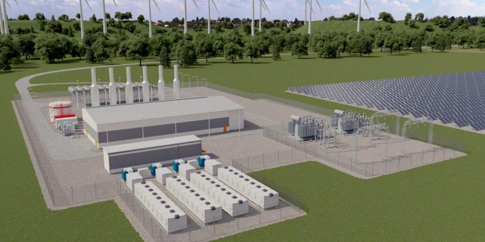 Erneuerbare Energien, Speicher und flexible Wasserstoffmotoren ermöglichen geschlossene Kreislaufsysteme mit 100 % erneuerbarer Energie. Grafik: Wärtsilä