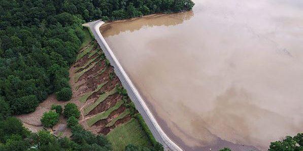 Hochwasser Steinbachtalsperre