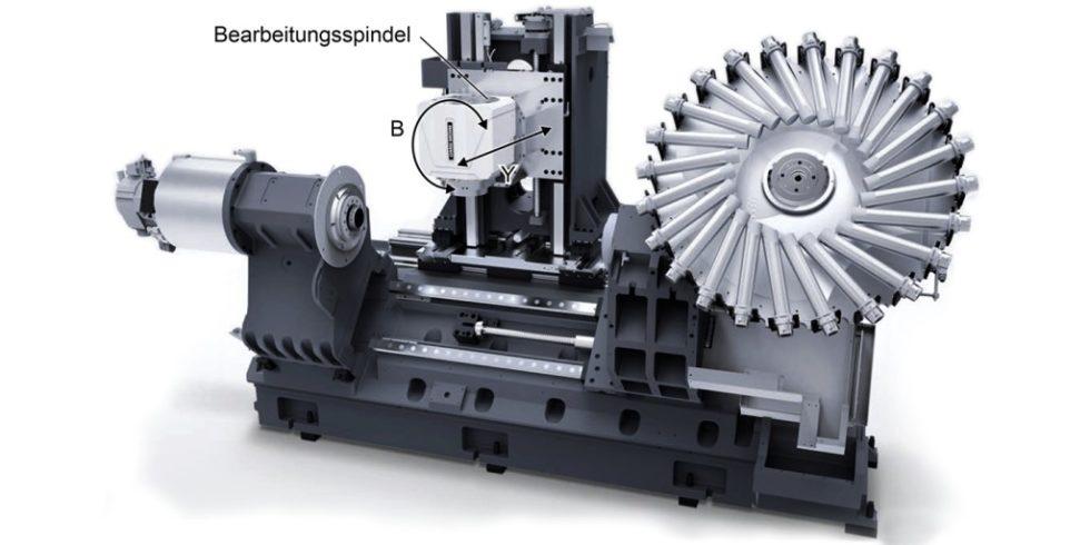 """Die """"CTX Beta 800 TC"""" von DMG Mori bietet eine Dreh-Fräs-Komplettbearbeitung mit patentierter Dreh-Frässpindel: Der neue Antrieb ist für für die Positionierung der Bearbeitungsspindel geeignet. Foto: DMG Mori"""