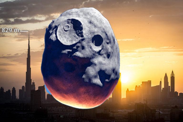 Ein Brocken der Größe von Asteroid 2016 AJ193 wäre deutlich größer als der riesige Turm Burj Khalifa in Dubai. Foto: Panthermedia.net/Johanswanepoel/oeinchounch (Montage: ingenieur.de)