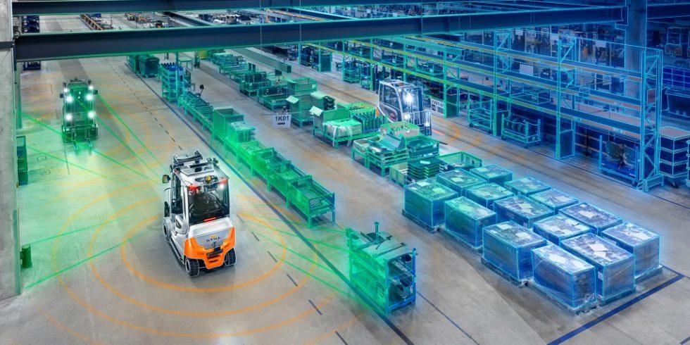 Beim Forschungsprojekt ARIBIC werden die über Sensoren und Kameras ermittelten Daten dazu verwendet, 3D-Karten von Lagerhäusern oder Produktionsanlagen zu erstellen. Sie erzeugen einen lebenden digitalen Zwilling der Umgebung und können damit relevante Informationen quasi in Echtzeit darstellen und teilen. Foto: STILL GmbH