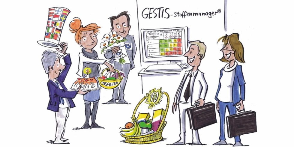 Die wichtigen Partner gratulieren GESTIS-Stoffenmanager® zum 10-jährigen Jubiläum.Bild: DGUV/Michael Hüter