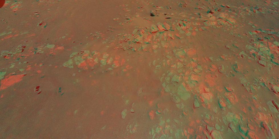 """Ein 3D-Bild der """"Raised Ridges"""" auf dem Mars, zusammengesetzt aus Bildern, die Helikopter Ingenuity bei seinem zehnten Flug aufgenommen hat. Foto: Nasa/JPL"""