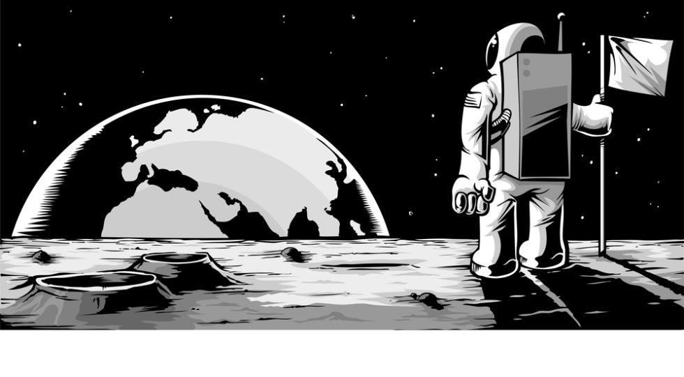 Astronaut blickt vom Mond auf die Erde