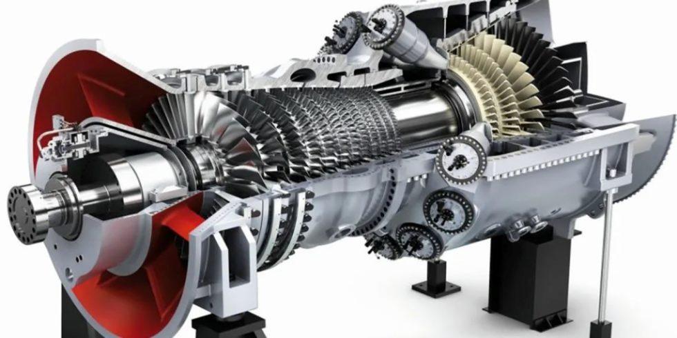 Schematische Darstellung einer Siemens-Gasturbine: Im Hightech-Werk in Budapest werden rund eine halbe Million Turbinenschaufeln im Jahr gefertigt, bei hohen Anforderungen an die Arbeitssicherheit. Foto: Siemens